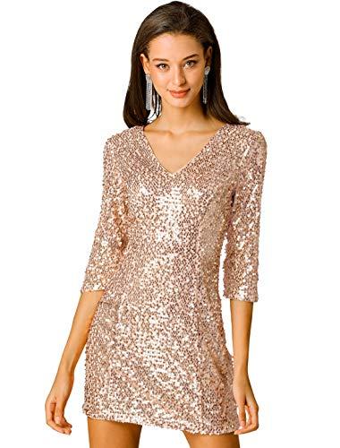 Allegra K Damen Langarm V Ausschnitt Pailletten Minikleid Kleid Rose Gold XS