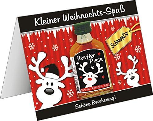 Weihnachtskarte mit Kräuterlikör lustige Grußkarte Weihnachtskarte als witziges Weihnachtsgeschenk mit Schnaps harzer Likör zum verschenken(Rentier- Pisse schwarz 22114)