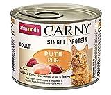 animonda Carny Single Protein adult Katzenfutter, Nassfutter für ausgewachsene Katzen, Pute Pur, 6 x 200 g