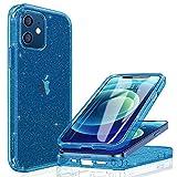 Miracase Transparent Glitzer Hülle Kompatibel mit iPhone 12/12 Pro (6.1 Zoll), 360 Grad Ganzkörper...