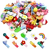 WillingTee 60 Pieces Baby Girls Hair Clips Cute Animal Fruit Flower Pattern Fully Ribbon Lined Hair clips for Baby Girls Infants toddlers kids Teens