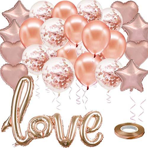 Leslady 24 Pezzi Palloncini Oro Rosa Amore Decorazioni e Ribbon, Love Cuore Stella Palloncini stagnola Elio Palloncini,Addio al Nubilato, Baby Shower,San Valentino,Matrimonio Anniversario