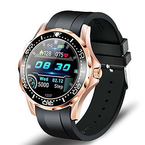 Luxury Smart Watch Men Multifuncional Deporte Fitness Rastreo Monitor De Ritmo Cardíaco Impermeable Smart Relojes (Color : Gold Black)