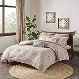 INK+IVY Ellipse Cotton Jacquard Comforter Set Blush King/Cal King