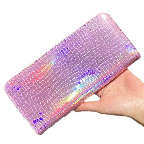 OYHBGK Frauen Geldbörse Handtasche Leder Laser Organizer Brieftaschen Damen Lange Armband Weibliche Speicherkarte Tasche Neu