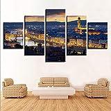 Leinwandbilder Home Decor Hd-Drucke 5 Stück City Night