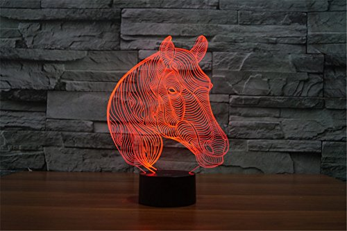 Trade® unique Tête de Cheval tri-dimensionnel Illusion Multicolore Changement LED Toucher Bouton USB Maison Décor animaux Table Lampe