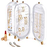 Portaoggetti per gioielli in ABS Portaoggetti per gioielli con 153 fori Orecchini e 21 collane con specchio autoincassato Scatola per organizer in piedi sul tavolo (White)