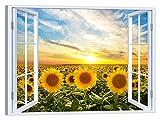 LuxHomeDecor Quadro Finestra Campo di Girasoli 100x75 cm Stampa su Tela con Telaio in Legno Arredamento Arte Arredo Moderno