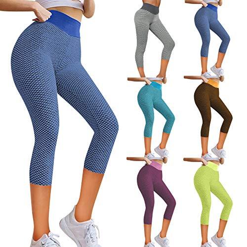 MOKBAY Frauen Stretch Yoga Leggings Fitness Running Gym Sporttaschen Active Pants,Damen Sporthose 3/4 Yoga Leggings Fitness Capri Hohe Taille Jogginghose Trainingshose(Blau:S)