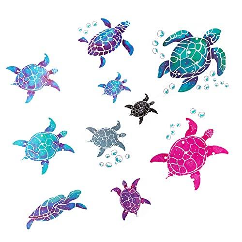 2 Set Sea Turtle Family Wall Decals ~Art Ocean Wall Decals - DIY Under The Sea Party Decorations for Bathroom Toilet Bedroom Nursery Room Children Room Living Room