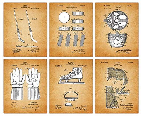 Vintage Hockey Patent Poster Prints: Set of 6 Unframed 8x10 Photos - Unique Wall Art Sports Decor For Boys, Girls, Home Office, Game Room & Man Cave - Great Gift Under $25 for Men, Women, Coach