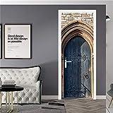 Adhesivos De Puerta 3D Adheridos A La Puerta Para Proteger El Lateral De La Puerta De Arañazos Puerta Azul 2 Piezas De La Etiqueta De La Puerta Se Despega Y Se Cubre Con Vinilo Extraíble 88X200Cm