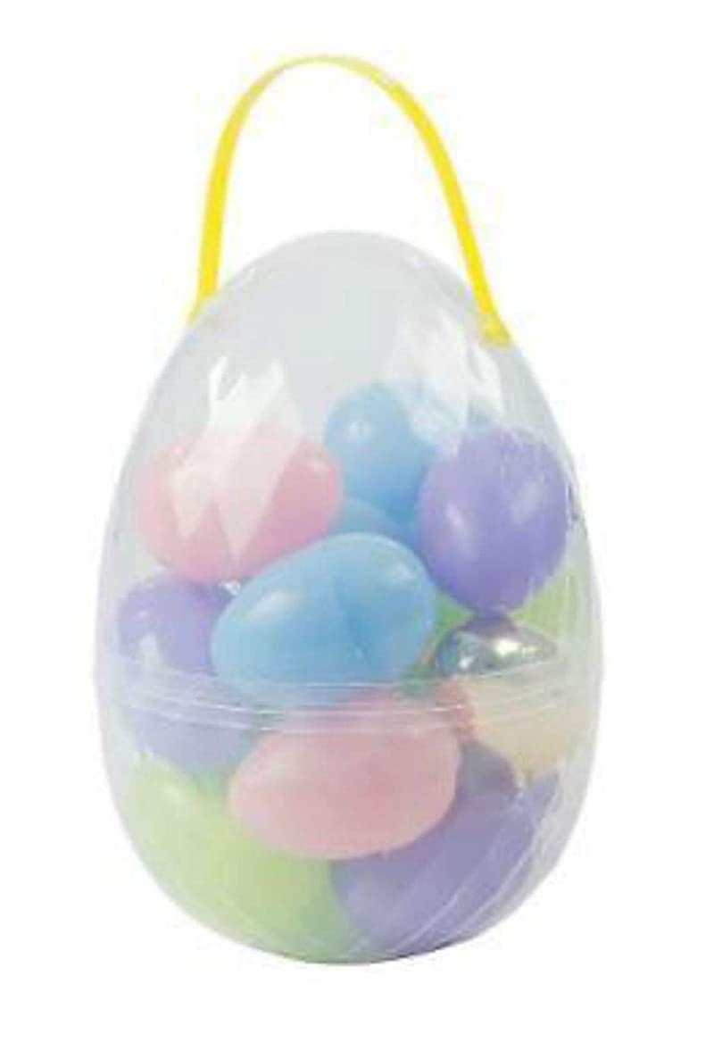 JMe Toys Jumbo Easter Egg Container with 18 Large Plastic Easter Eggs and Golden Egg Easter Set - Perfect for Easter Egg Hunts, Easter Baskets, and Easter Prizes