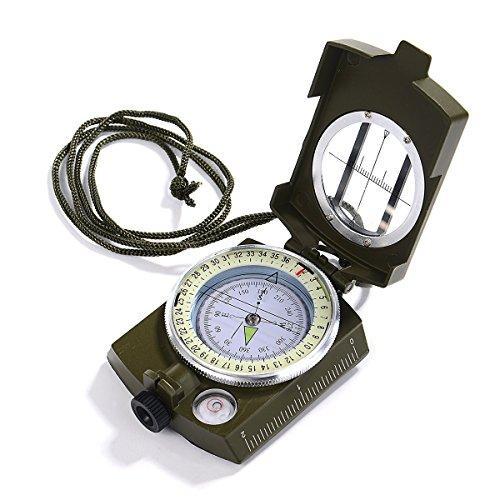 iitrust Boussole Professionnelle, Boussole Militaire millième Imperméable IP65 en Métal Compas de Fluorescent avec Sac pour randonnée Camping/Escalade/Exploration/géologie/activités de Plein air