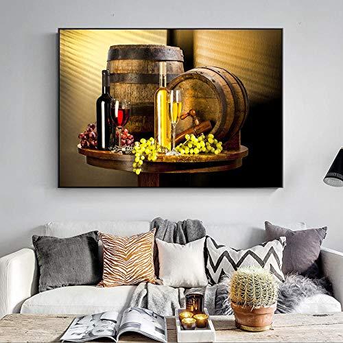 Grape Wine Canvas Art schilderij op de wand, meerdere wijnen, met Grape Wall Art Canvas Prints Decoratieve afbeeldingen voor de keuken 60 x 90 cm zonder lijst
