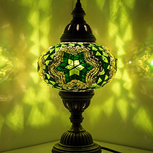 Handgefertigte Mosaik-Tischlampe, atemberaubender marokkanischer Stil, einzigartiger Globus Lampenschirm, Größe XL