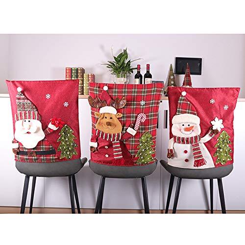 LAMF Weihnachtsstuhlhussen-Set, 6 Stück, 3D-Stuhlhussen mit Weihnachtsmann, Schneemann, Elch, Weihnachtsstuhlrückenkappe, Küchenstühle, Esszimmerstuhlhussen-Sets