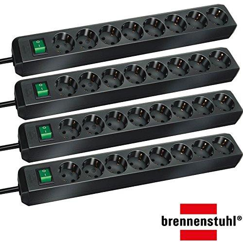 Brennenstuhl Eco-Line Steckdosenleiste mit Schalter 8-fach 3m (Sparpack | schwarz)