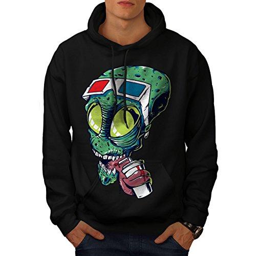 Wellcoda Beings 3D Glasses Mens Hoodie, Cinema Addict Casual Hooded Sweatshirt Black L