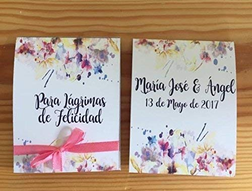 Lágrimas de Felicidad para Bodas con pañuelo 50 unidades