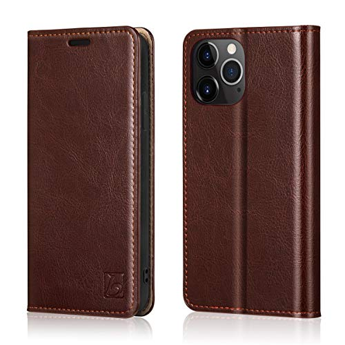"""Belemay Compatible with iPhone 12 Pro Max Wallet Case (6.7"""" 2020) Genuine Cowhide Leather [RFID Blocking] Folio Flip Cover Credit Card Holder [Soft TPU Shell] Protective Book Folding Case, Brown"""