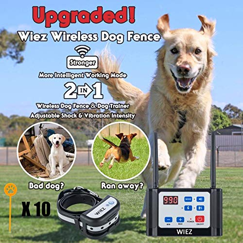 WIEZ Wireless Dog Fence Electric & Training Collar 2-in-1, Dual Antenna, Adjustable Range 100-990 ft, Adjustable Warning Strength, Rechargeable,Pet Containment System,Harmless (1 Collar + 10 Flags)