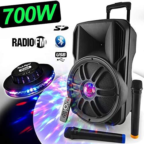 Enceinte Sono Dj PA Mobile PARTY KARAOKE MyDJ Batterie 12'' 700W Effet Friztal LED + OVNI USB/SD/BT/RADIO FM/PC + 2 Micros VHF