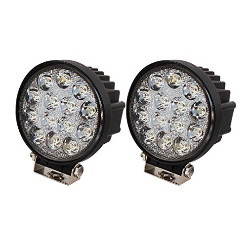 BRIGHTUM 42W 4.5inch LED Offroad Arbeitsscheinwerfer weiß 12V 24V 3990 Lumen Runde Reflektor worklight Scheinwerfer Arbeitslicht SUV UTV ATV Arbeitslampe Traktor Bagger LKW KFZ (2 Stück)