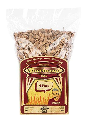 Axtschlag Räucherchips Wein, 1000 Gramm sortenreine Räucherspäne für besondere Rauch- und Geschmackserlebnisse, für alle Grills