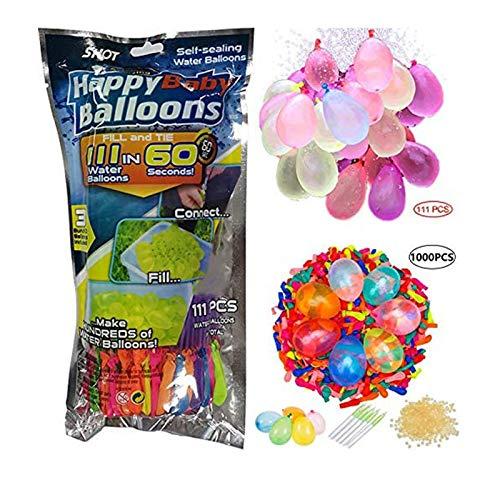 HONGXUNJIE 111PCS+1000PCS Ergänzungspaket Rapi111PCS+1000PCS Ergänzungspaket Rapid-Fill-Verrückte Farbe Wasserballons,111 Wasserbomben in 60 Sekunden, selbst verschließend ohne Knoten