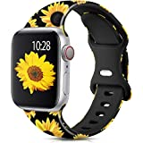 Muranne Compatible with Apple Watch Band SE 40mm 38mm Cute Pattern Stylish Floral Durable Soft Silicone Replacement Wristband Strap for iWatch Series 6 5 4 3 2 1, Sunflower Black, M/L