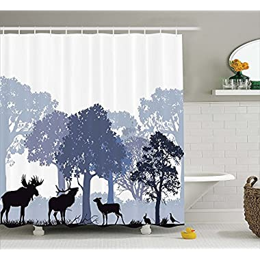 Moose Shower Curtain Set by Ambesonne, Gray Forest Design Abstract Woods North American Wild Animals Deer Hare Elk Trees, Fabric Bathroom Decor with Hooks, 84 Inches Extra Long, Lilac Cadet Blue Black