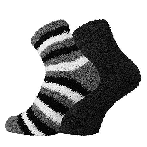 TippTexx 24 Kuschel Socken für die ganze Familie, 2 Paar (Ringel-Schwarz, 42/47)