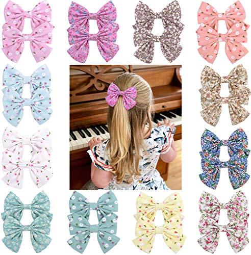 Baby Mädchen großen Bogen Haarspange Set Krokodilklemmen für kleine Mädchen Kleinkind Kinder Haarschmuck, 3,55 Zoll, mehrfarbig