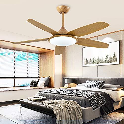 Moderno ventilador de techo con luz LED regulable en 3 colores, mando a distancia 52, 5 aspas de madera, motor silencioso, ajuste de 6 marchas, temporizador, atenuación de 3 colores