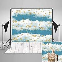HD写真の背景新生児5x7素朴な白い木の床赤ちゃん幼児月の写真撮影青い空白い雲と子供のためのゴールドスター写真の背景