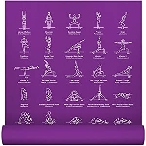 NewMe Fitness Instructional Yoga Mat, Purple, Printed w/ 70 Illustrated Poses