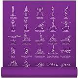 "NewMe Fitness Exercise Yoga Mat - 24"" Wide x 68"" Long - Thin, Non-Slip High Density Instructional Mats for Men & Women w/ 70 Printed Poses for Beginner – Purple"