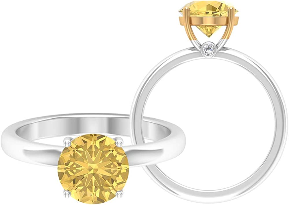 8 MM Round Shape Citrine Solitaire Ring, 1.5 MM D-VSSI Moissanite Ring, Gold Engagement Ring (AAA Quality), 14K Gold
