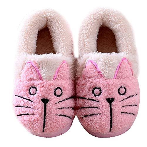 Zapatillas de Esta por casa Animales/Gatos Invierno interio Suave para Familia niños/niñas/Mujer/Hombre Rosa 20/21 EU