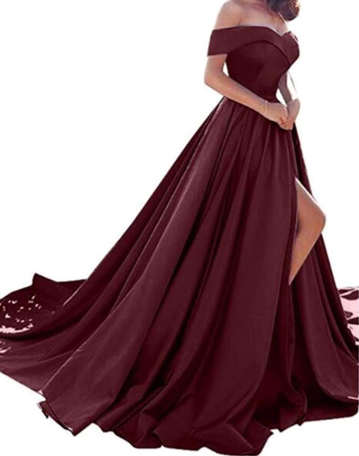 Ai Maria Women's ShowShouldered Satin LongStyle Ball Dress ALine Skirt for Official Evening Dresses