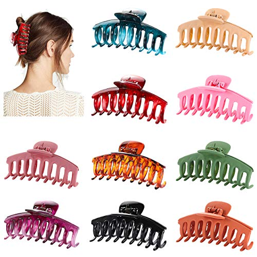 10PCS Large Hair Claw Clips for Women Girls 4Inch Nonslip Big Hair Catch Barrettes Strong Hold Jumbo Hair Jaw Clamp Styling Hair Clips for Thick Long Hair (Style A)
