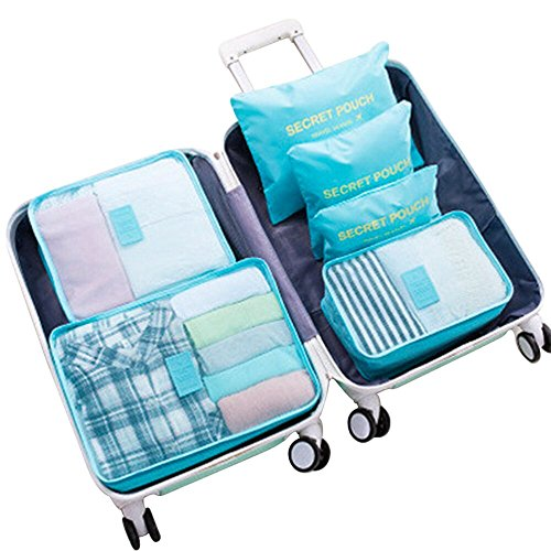 WOWTOY 6PCS Packing Cubes for Travel Luggage Organiser Bag Compression Pouches Clothes Suitcase, Packing Organizers Storage Bags for Travel Accessories, Light Blue