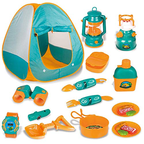 LBLA 20 PCs Kids Camping Set, Pop Up Tent with Kids Camping Gear Set, Outdoor Toys Camping Tools Set for 3 4 5 Kids Boys&Girls