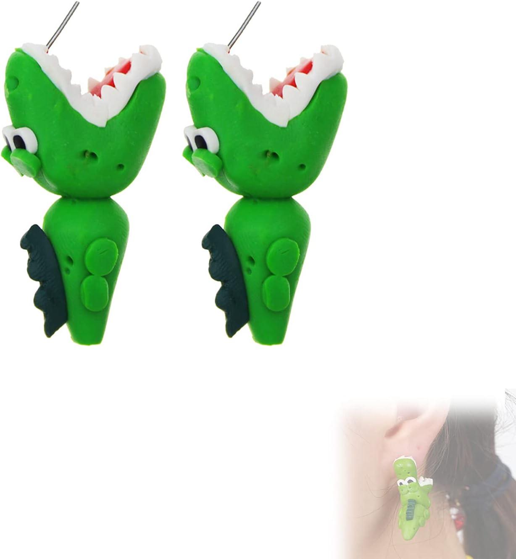 1 Pcs Animal Biting Earrings,Cartoon Cute Handmade 3D Soft Pottery Animal Stud Earrings for Women (crocodile)