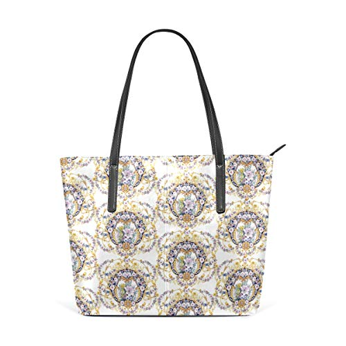 Tote Bag Leather Flower Roses Garlands Seamless Pattern Handbags Purse Shopping Shoulder Bags Cup for Women Girls Ladies Student Light Weight Strap