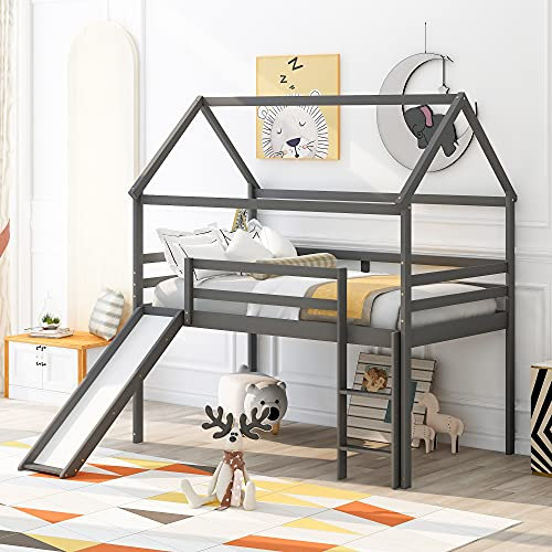 Twin Loft Bed with Ladder Slide and House Frame, Pinewood House Bed Frame for Kids/Children/Teens (Gray)