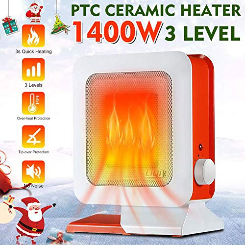 Fantastic Deal! YBZS 1400W Mini Portable Electric Fan-PTC Ceramic Heater, 3S Heating Space Heater wi...