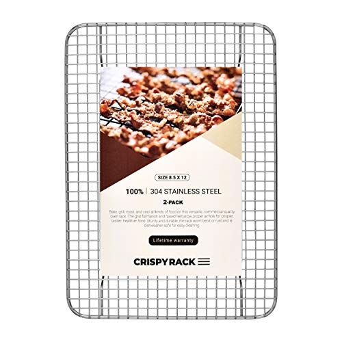 CrispyRack 2-Pack Heavy Duty 100% 304 Stainless Steel Wire Rack For Cooking, Roasting, Drying, and Grilling. Rack Fits Small Quarter Sheet Size Baking Pan, Oven Safe, Commercial Quality, 8.5